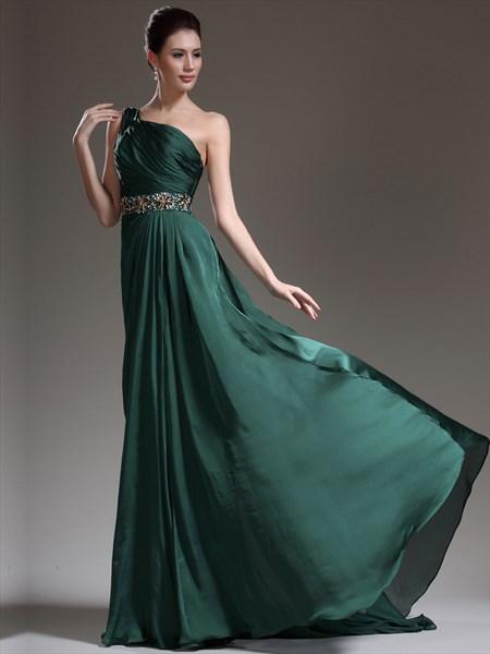 Elegant A Line Emerald Green One Shoulder Beaded Pleated Prom Dress