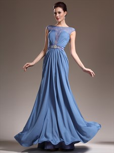 Blue Bateau Neck Cap Sleeve Crystal Long Prom Dresses With Applique