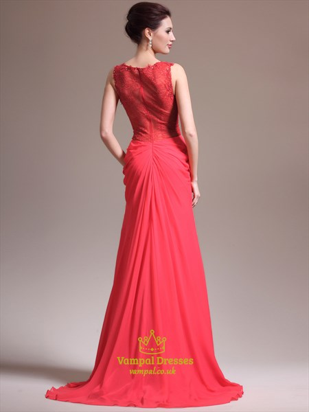 Red Bateau Neck Sleeveless Beading Applique Prom Dress With Train