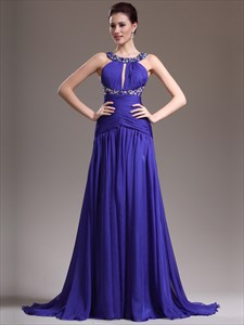 Royal Blue Halter Neck Keyhole Beaded Ruched Prom Dress With Train