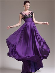 A Line Purple Jewel Sleeveless Beading Applique Chiffon Prom Dress