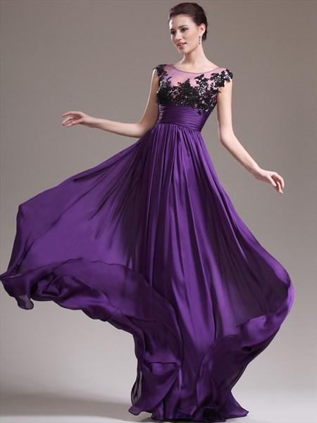 A Line Purple Jewel Sleeveless Beading Applique Chiffon Prom Dress