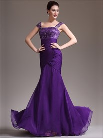 Square Neck Beading Cap Sleeve Sheath Chiffon Prom Dress With Train