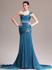 Blue One Shoulder Sleeveless Beaded Ruched Prom Dress With Train