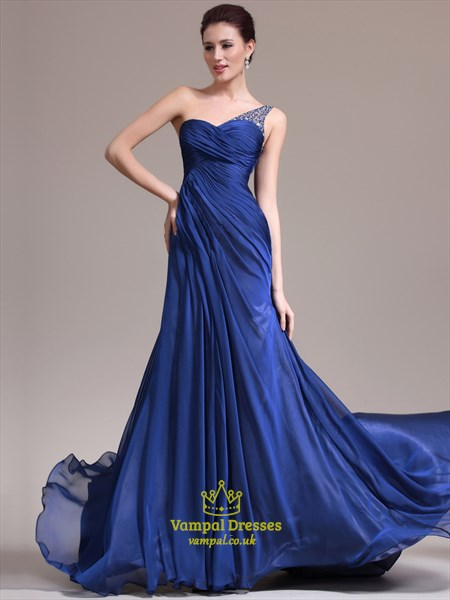 A Line Royal Blue One Shoulder Beaded Ruched Chiffon Prom Dress