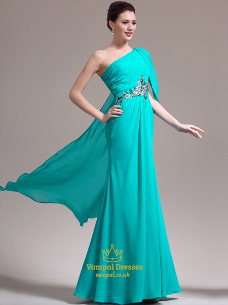 Light Blue One Shoulder Sleeveless Crystal Prom Dress With Cape