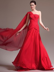 Red Sleeveless Ruched Chiffon Long Prom Dress With Cape And Train