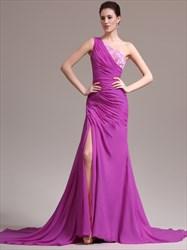 Fuchsia One Shoulder Beaded Sleeveless Chiffon Prom Dress With Split