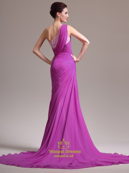 Fuchsia One Shoulder Beaded Sleeveless Chiffon Prom Dress With Split