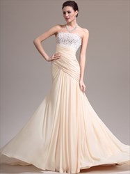 A Line Champagne Strapless Beading Applique Ruched Prom Dress