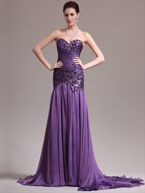 Purple Sweetheart Beading Applique Ruched Sheath Chiffon Prom Dress