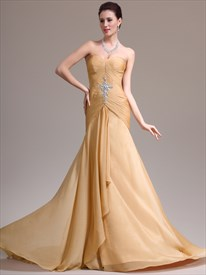 Beige Sweetheart Sleeveless Crystal Long Prom Dress With Train