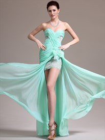 Mint Green Sweetheart Aplique Chiffon Long Prom Dress With Split