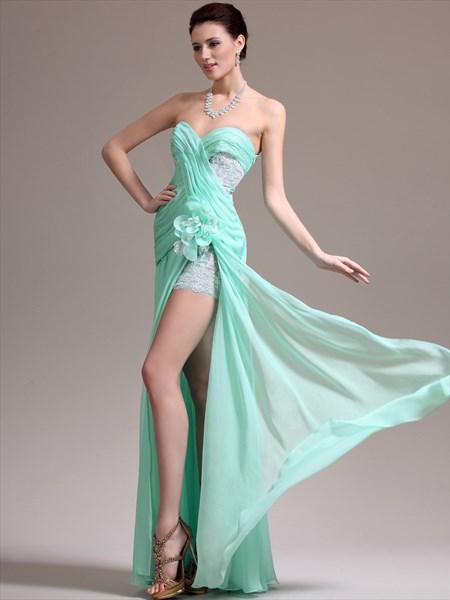 Mint Green Sweetheart Aplique Chiffon Long Prom Dress With Split