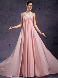 Elegant A Line Pink High Neck Beading Applique Sleeveless Prom Dress