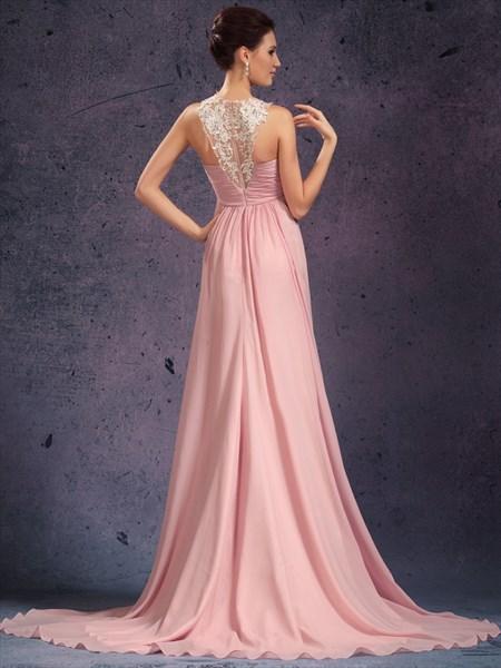 Elegant A Line Pink High Neck Beading Applique Sleeveless Prom Dress