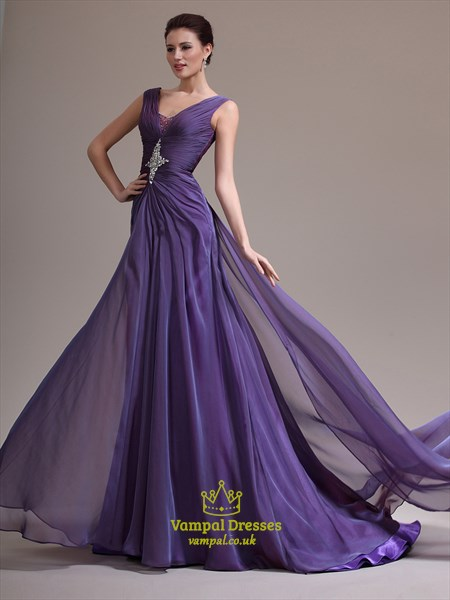 A Line Lavender V Neck Sleeveless Beaded Long Prom Dress With Train