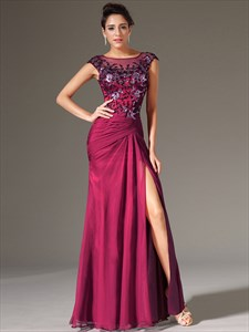 Bateau Neck Beading Applique Sheath Chiffon Prom Dress With Split