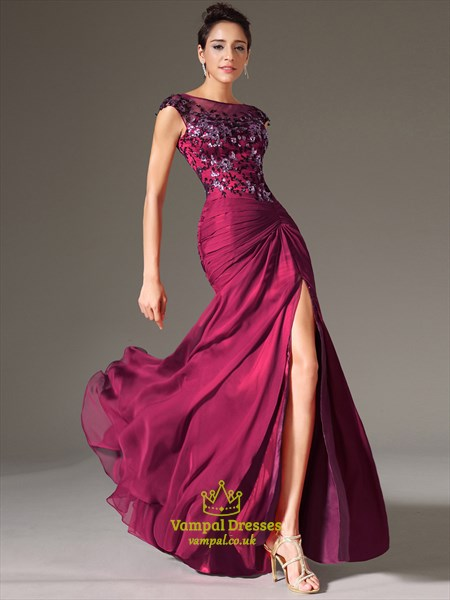 Bateau Neck Beading Applique Sheath Chiffon Prom Dress With Split