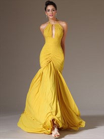 Yellow Halter Neck Keyhole Sleeveless Ruched Bodice Prom Dress
