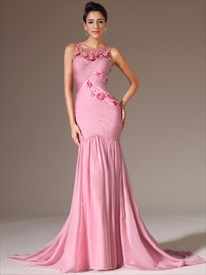 Bateau Neck Ruched Sheath Chiffon Prom Dress With Flowers And Train