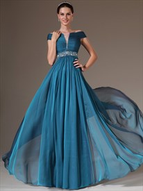 A Line Blue Off The Shoulder Beaded Cap Sleeve Chiffon Prom Dress
