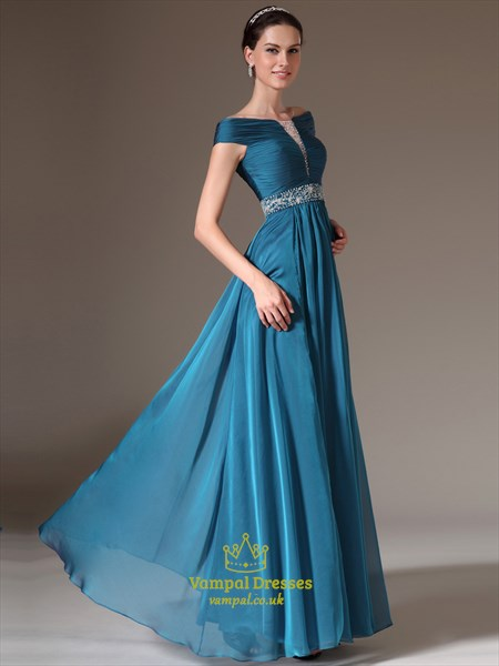 A Line Blue Off The Shoulder Beaded Cap Sleeve Chiffon Prom Dress