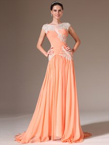 Orange Bateau Neck Sleeveless Applique Chiffon Prom Dress With Train