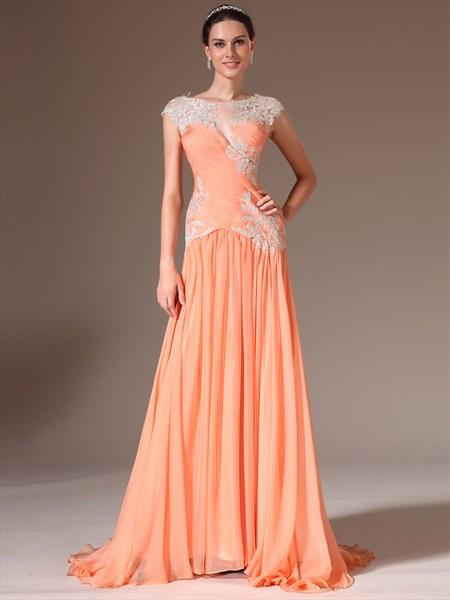Orange Bateau Neck Sleeveless Applique Chiffon Prom Dress With Train