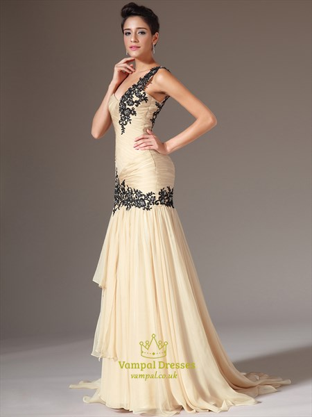 Champagne One Shoulder Sleeveless Beaded Applique Sheath Prom Dresses