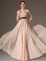 Simple A Line Off The Shoulder Short Sleeve Ruched Chiffon Prom Dress