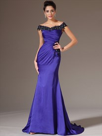 Royal Blue Sleeveless Beading Applique Sheath Prom Dresses With Train
