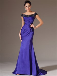 Royal Blue Sleeveless Beading Applique Sheath Prom Dresses With Train