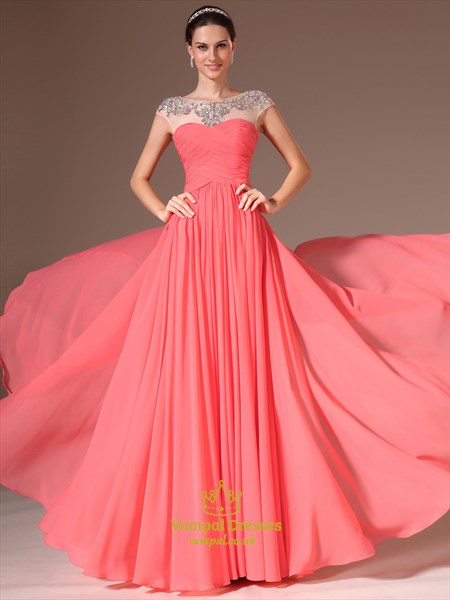 A Line Watermelon Bateau Sleeveless Crystal Ruched Chiffon Prom Dress