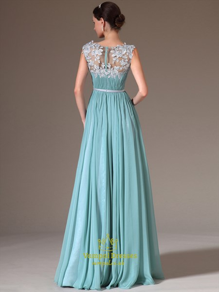 Light Blue Bateau Neck Crystal Applique Long Prom Dress With Split