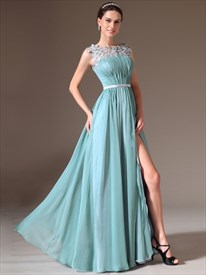 Light Blue Bateau Neck Crystal Applique Long Prom Dress With Split