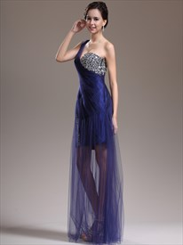 Elegant Royal Blue One Shoulder Beaded Sleeveless Tulle Prom Dress