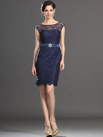 Elegant Royal Blue Bateau Neck Sleeveless Lace Sheath Short Dress
