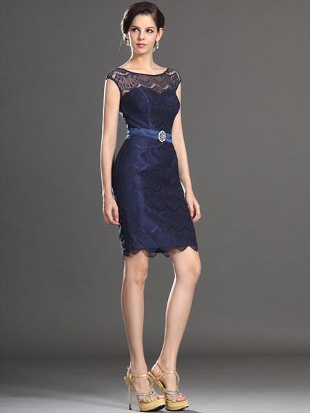 Elegant Royal Blue Bateau Neck Sleeveless Lace Sheath Short Dress