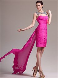 Fuchsia Sweetheart Ruched Chiffon Short Dress With Sequin And Train
