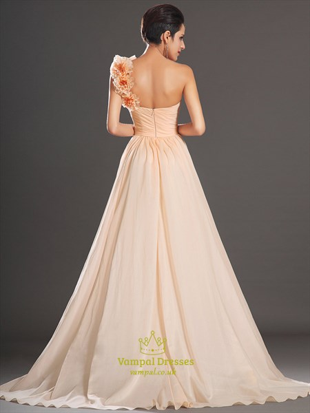 A Line Champagne One Shoulder Sleeveless Prom Dress With Flowers