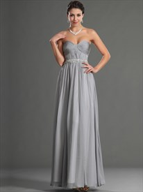 Simple Grey Sweetheart Sleeveless Beaded Ruched Chiffon Prom Dress