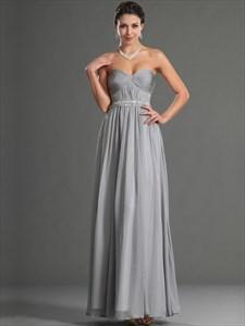 Simple Grey Sweetheart Sleeveless Beaded Ruched Chiffon Prom Dress