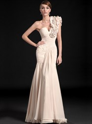 Champagne One Shoulder Ruched Floor Length Sheath Chiffon Prom Dress