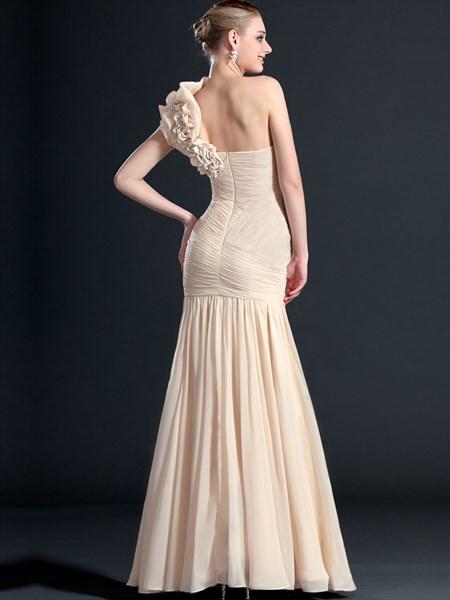 Champagne One Shoulder Ruched Floor Length Sheath Chiffon Prom Dress