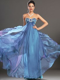 A Line Blue Sweetheart Sleeveless Beaded Pleated Chiffon Prom Dress