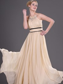 Simple Beige High Neck Beaded Floor Length Chiffon Prom Dress
