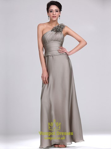 Simple Grey One Shoulder Sleeveless Ruched Chiffon Long Prom Dress