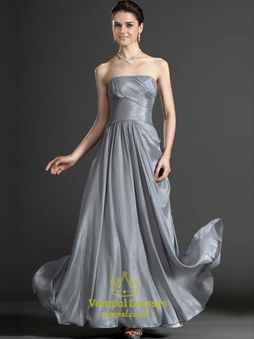 A Line Grey Strapless Sleeveless Ruched Floor Length Prom Dress