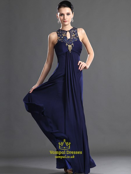 Navy Blue High Neck Keyhole Crystal Beaded Ruched Chiffon Prom Dress
